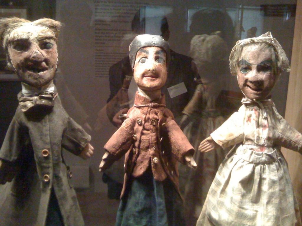 Gnafron, Guignol et Madelon, les 3 premières marionnettes créées par Laurent Mourguet (musée Gadagne de Lyon)