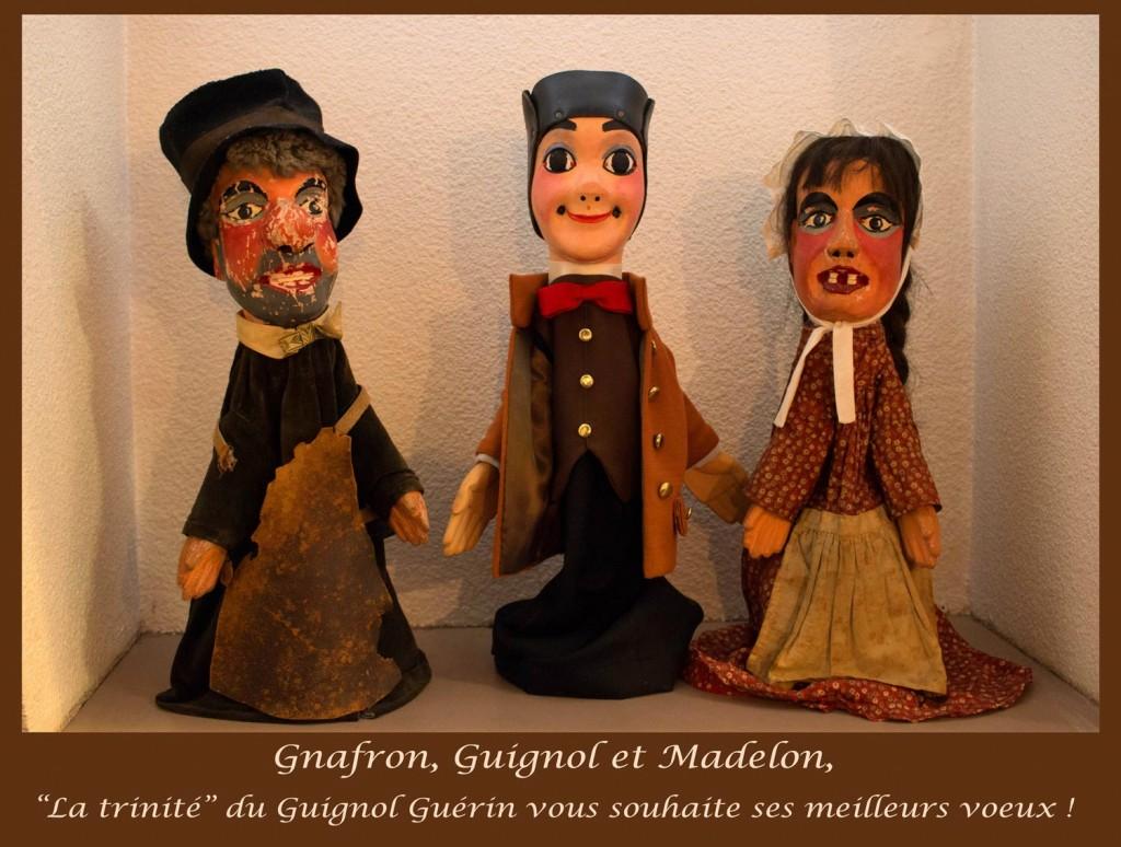 """""""La trinité"""" : Guignol, Gnafron et Madelon., le Guignol Guerin"""